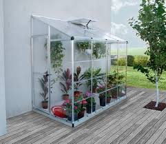 Palram Greenhouse Palram Lean To Silver Hybrid 8x4 Grow House Gardensite Co Uk