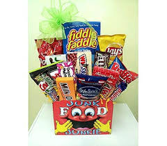 junk food gift baskets junk food junkie in nc wilmont baskets blossoms