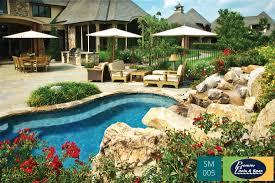 decor beautiful backyard with natural spool pool and stone