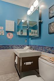 baltimore bathroom vanity single transitional with blue glass tile