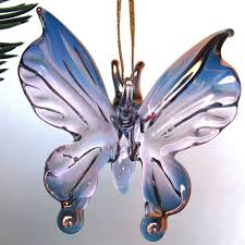 butterfly figurine blown glass christmas tree ornament