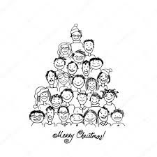 christmas tree made from group of people for your design u2014 stock