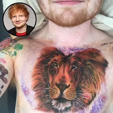 ed sheeran lion tattoo disappears says he u0027covered it up for a tv