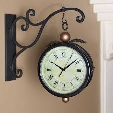 Decorative Wall Clock Black Iron Double Sided Hanging Clock W Wall Bracket Solid Iron
