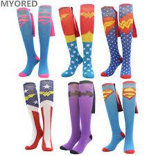 myored cartoon superman batman cape socks cotton knee high long