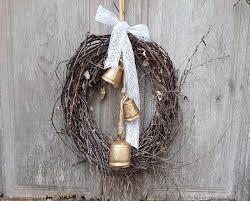 door hanger wreaths cow bells christmas decor https www etsy com
