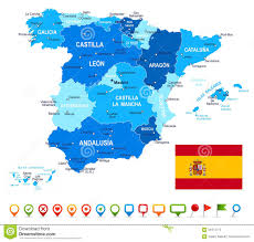 spain map flag and navigation icons illustration stock vector