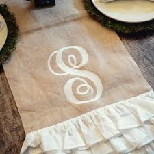 burlap table runner with white ruffle