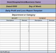 Project Profit And Loss Template Excel Daily Profit Loss Report Template Free Report Templates