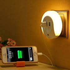 led night light with sensor novelty led night light with 2 usb port for mobile phone charger