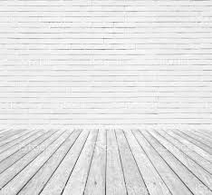 white brick wall texture background with wooden floor stock photo