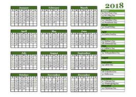 2018 year calendar template with us holidays free printable