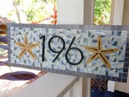 beach house mosaic address sign