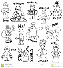 sketches cartoon man in various situations stock vector image