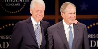 bush and clinton say be humble in victory responsible with power