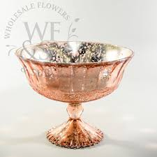 Copper Pedestal Glass Pedestal Vase In Rose Gold Wholesaleflowersandsupplies Com