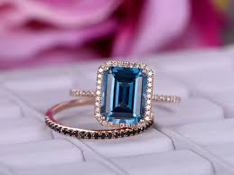 blue topaz engagement rings 788 emerald cut london blue topaz engagement ring sets black