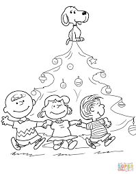 charlie brown christmas tree coloring page throughout peanuts