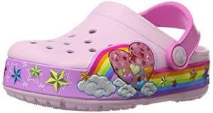 crocs light up boots amazon com crocs kids rainbow heart light up clog clogs mules