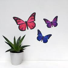 pink and purple butterfly wall stickers u2013 chameleon wall art