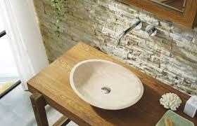leda natural stone bathroom vessel sink in beige travertine marble
