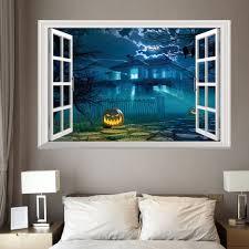 halloween bat wall decals halloween 3d window gruesome castle wall sticker deep blue cm