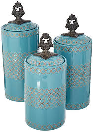 blue kitchen canisters amazon com atelier canisters set of 3 blue kitchen