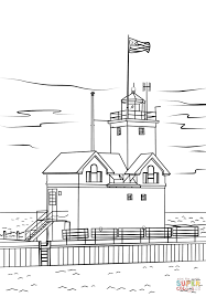 holland harbor light michigan coloring page free printable