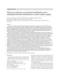 effects of combined conventional ultrafiltration and a simplified