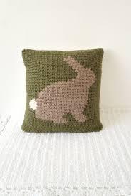 Crochet For Home Decor by Bunny Rabbit Crochet Pillow Green Background Brown Rabbit Crochet