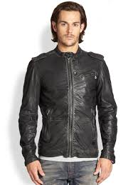leather biker jacket diesel leprandis leather biker jacket in black for men lyst