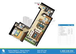 1 Bedroom Apartment Floor Plan Floor Plans Marina Heights Marina Square Al Reem Island