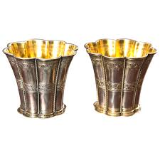 pair of nargrethe sterling silver cups with gilt interior