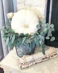 neutral fall farmhouse home decor using eucalyptus u0026 white pumpkins