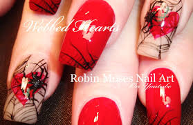 diy spider nails red hearts in spiderweb nail art design