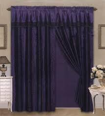 Thick Purple Curtains 4 Pieces Satin Purple Black Flocking Leopard Pattern Window