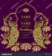 Invitation Cards Templates Wedding Invitation Card Templates Gold Peacock Stock Vector