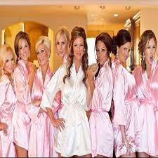 and bridesmaid robes white bridal dressing gown kimono bathrobes 4 colors satin silk
