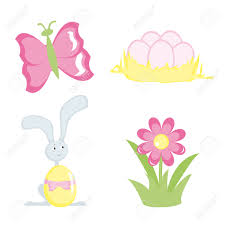 cartoon icons for easter design set 4 butterfly hare eggs
