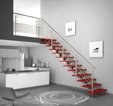 contemporary staircase decoration with stainless steel handrail