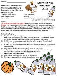 thanksgiving activities turkey ten pins thanksgiving by
