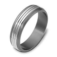 titanium band men s brushed 18k white gold and titanium band 441