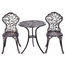 Aluminum Bistro Table And Chairs 3 Pcs Cast Aluminum Bistro Set Outdoor Furniture Sets Outdoor