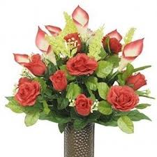 Vases Of Roses Silk Flowers In Vase Foter