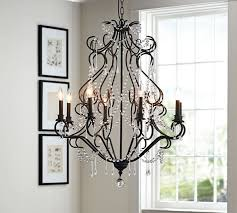 Black Metal Chandeliers Bianca Crystal Beaded Metal Chandelier Pottery Barn