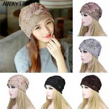 lace headwear womens beanies sequined flower slouchy baggy hat lace headwear