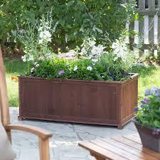 outdoor raised patio planter box in dark brown wood 41 inch
