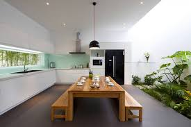 minimalist kitchen design with retro dining room and wooden table
