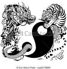 yin yang with and tiger yin yang symbol with eps