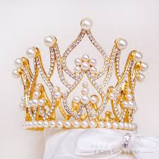t3 gorgeous crown tiara pearl jewerlry